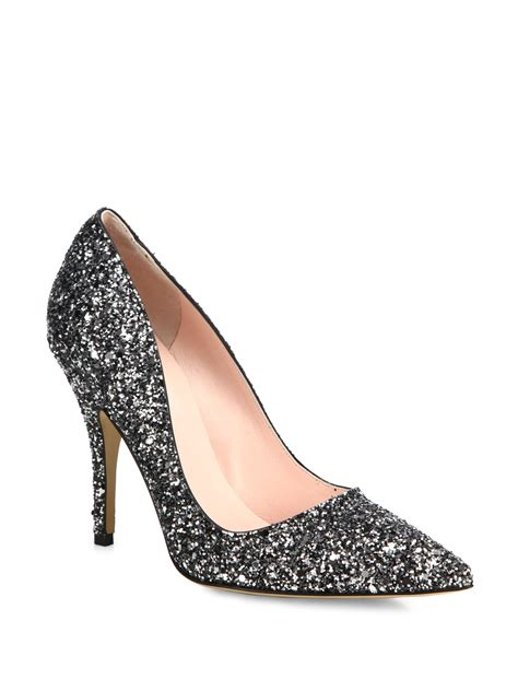 Guess Charlote Silverblack kate spade licorice glitter leather pumps in silver black