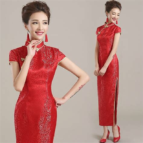 aliexpress qipao rose embroidery high slit ceremonial qipao dresses red