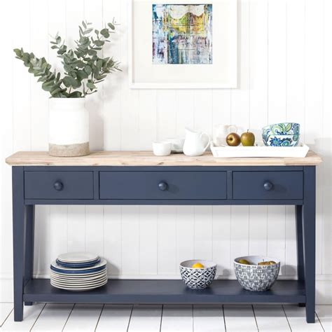 console firenze florence navy blue console table with 3 drawers