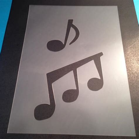 Items Similar To Music Notes Stencil Template Card Making Plaque Design Mylar Stencils Create A Plaque Template