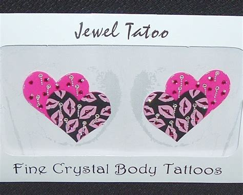 areola heart tattoo pasties pink black bead