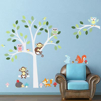 jungle nursery tree animals monkey vinyl wall stickers wall decals pd267 eur 0 01