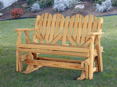 wood bench glider amish outdoor pine wood heart porch glider bench made in