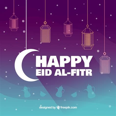 background of happy eid al fitr and lanterns vector free
