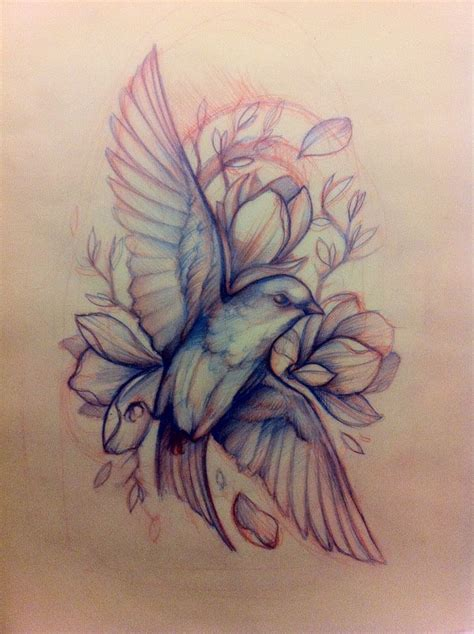 bird flower tattoo designs pastel bird sketches designs