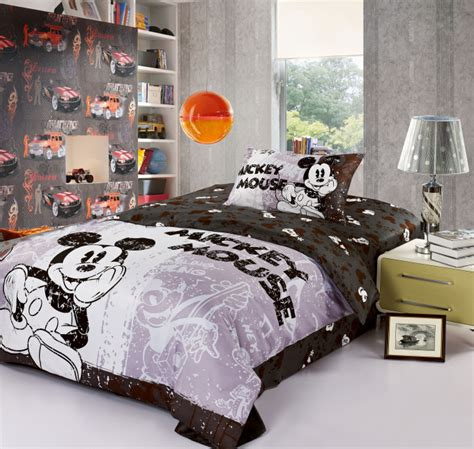 Mickey And Minnie Mouse Cartoon Bedding Set Cotton Bed Minnie And Mickey Mouse Bed Set