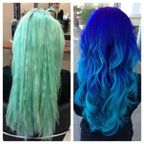 faded colour hairstyles from faded turquoise to a blue ombre hair pinterest
