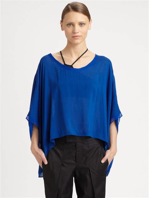 helmut lang draped top helmut lang draped dolman top in blue deep blue lyst