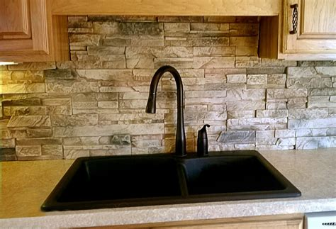 White Wood Kitchen Cabinets stacked stone backsplash combination for modern kitchen