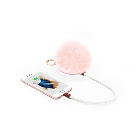 Black Furball Bag Charm pompom portable charger bag charm quartz white