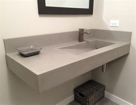 Concrete Countertop And Sink by Floating Concrete Ada Sink By Trueform Concrete Trueform