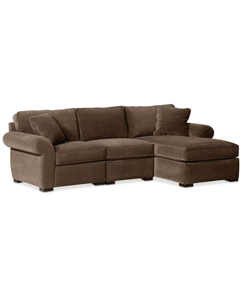 macys chaise trevor fabric 3 piece chaise sectional sofa sectional