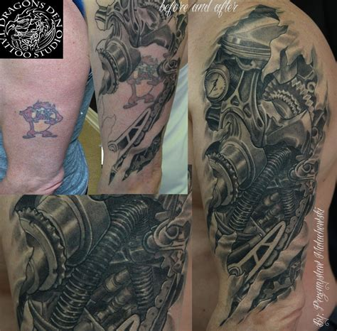 biomechanical tattoo engine bio mechanical steam punk cover up tattoo pinterest