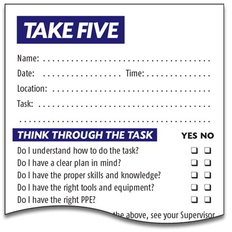 take 5 risk assessment template basic take 5 form lockbox safety documentation