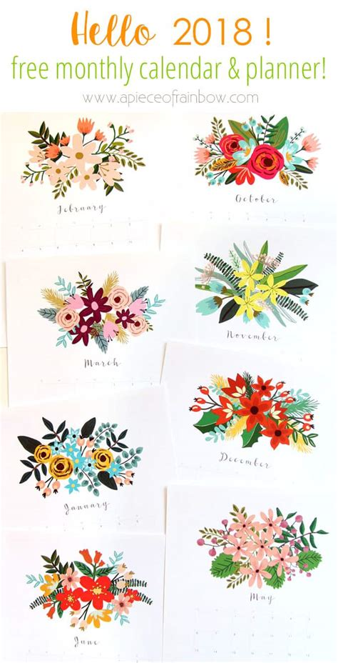 printable calendar 2018 flowers beautiful floral 2018 calendar monthly planner