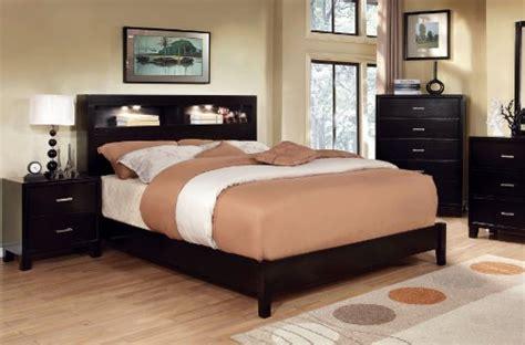 toronto queen cappuccino platform bedroom set with lights furniture of america metro platform bed with bookcase