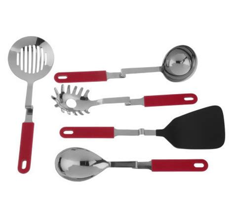 Qvc Kitchen Gadgets set of 5 convenient no mess cooking utensils by lori greiner h17980 qvc