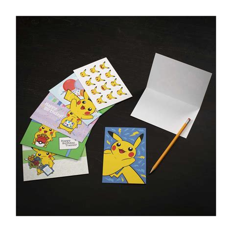 pikachu greeting card set  birthday     blank cards  envelopes pokemon center
