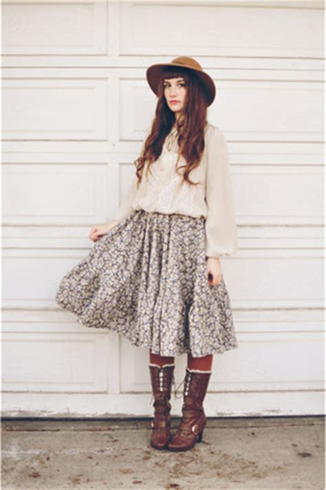 brown thrifted skirts camel topshop hats camel thrifted blouses quot winter skirt quot by