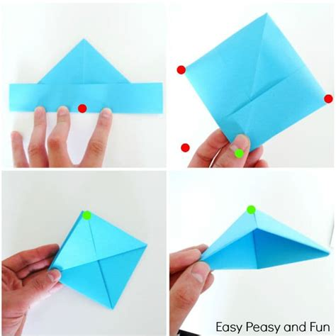 Paper Boat Steps - how to make a paper boat origami for easy peasy