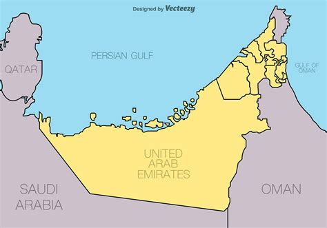 arab emirates map united arab emirates vector map free vector