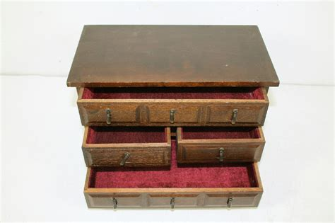 Felt Lined Drawers by Vintage Wood Wooden Jewelry Trinket Organizer Storage Box