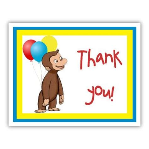 Curious George Birthday Card Thank You Card Curious George Party Pinterest