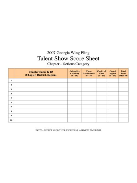 Talent Show Score Sheet   4 Free Templates in PDF, Word