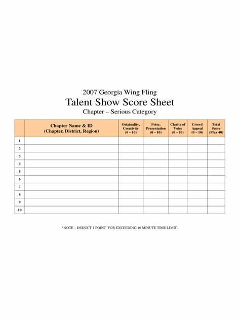 Talent Show Score Sheet. Talent Show Score Sheet Medium Size Talent ...