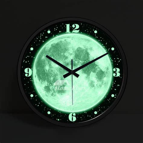 illuminated wall clock 14 inch round silent modern silver
