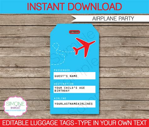 printable luggage tags pdf airplane party luggage tags favor tags thank you tags