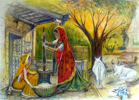 biography of indian artist indian village life 13 painting by bhanu dudhat