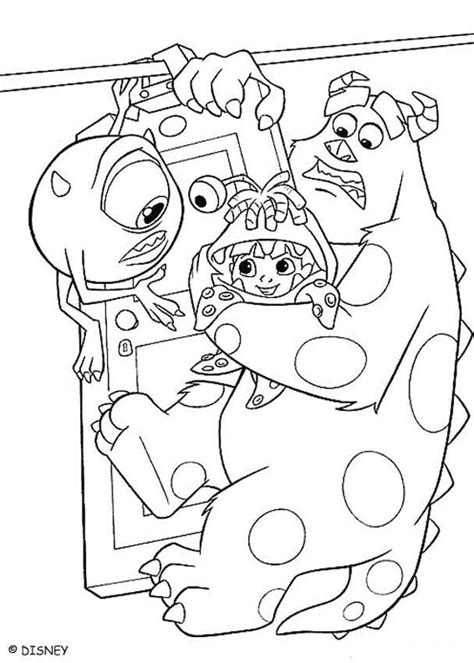 monsters inc coloring pages mike sulley and boo