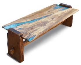 Industrial Chic Coffee Table Custom Live Edge Rustic Oak With Turquoise Inlay Coffee
