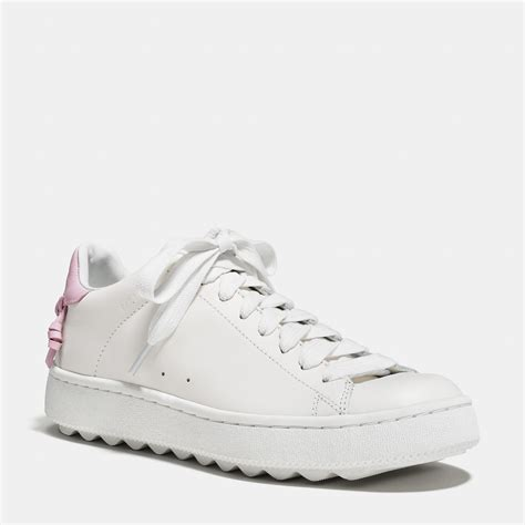 coach white sneakers coach c101 low top sneaker in pink lyst