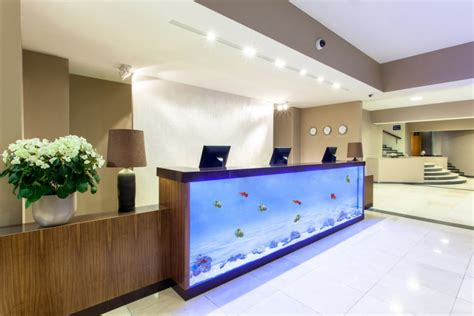 Fish Tank Reception Desk Bellevue Park Hotel Riga Hotels Riga