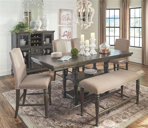 audberry dark gray  pc rectangular dining room counter