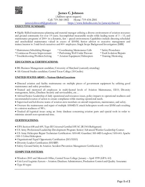 Executive Summary Resume by C Johnson Executive Summary Resume