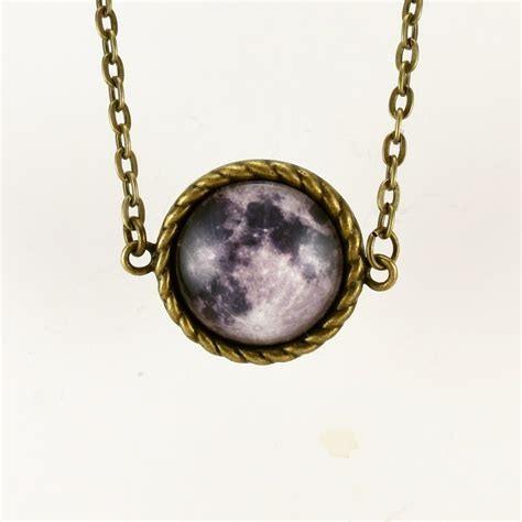 moon necklace moon pendant bronze moon charm jewelry