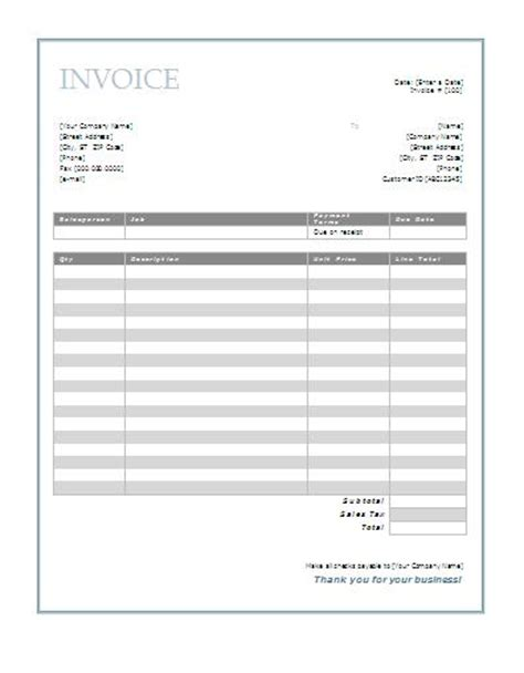 free printable invoice template joy studio design