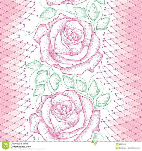 pattern dotted hole leaf green seamless pattern with dotted pink roses green leaves and