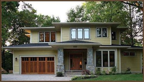 garage door on prairie style home for the home