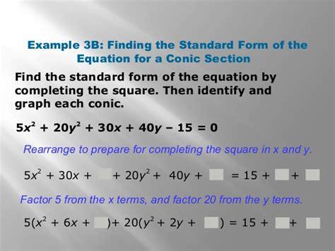 conic sections completing the square unit 13 6