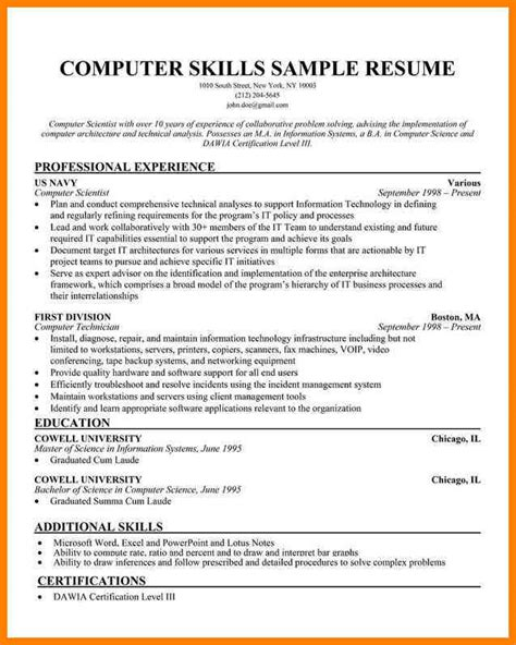 sle resume qualifications and skills resume sle basic computer skills sle resume for computer