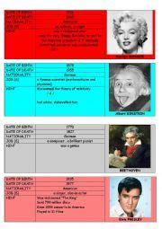 michael jackson biography worksheet pdf english worksheets biography cards part 2