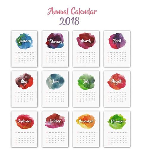 Calendar 2018 Design Calendar 2018 Watercolor Design Vector Free