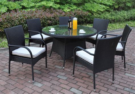7 pcs Outdoor Patio Dining Set Round Glass Table Black PE