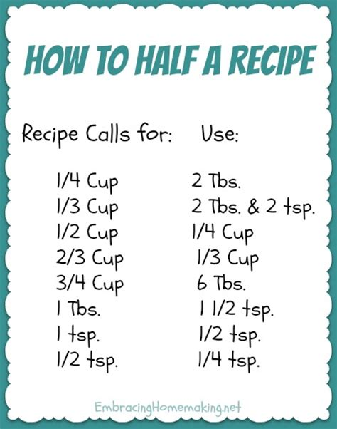 Cooking Measurements In Half How To Half A Recipe Embracing Homemaking