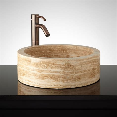 vessel sinks for bathroom round flat bottom polished travertine vessel sink vessel