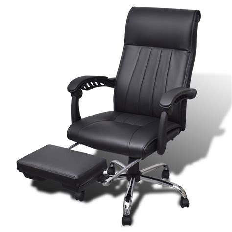 Chair With Footrest by Black Artificial Leather Office Chair With Adjustable Footrest Vidaxl